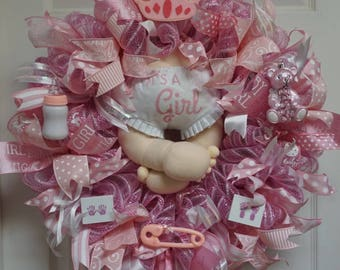 Baby Wreath, Baby Shower Wreath, Baby Girl Wreath, Girl Wreath, Baby Gift, Baby Door Hanger, Baby Door Decor, It's A Girl Wreath