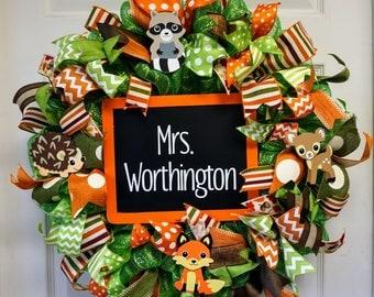Woodland Creatures Classroom Wreath, Classroom Wreath, School Wreath, Teacher Wreath, Classroom Decor, Classroom Door Hanger, School Door
