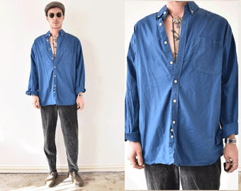 Air Sports Large Vintage Button Up Navy Blue Shirt
