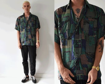 Silk Road Vintage Silk 90s Abstract Unique Unisex Button Up Collared Shirt