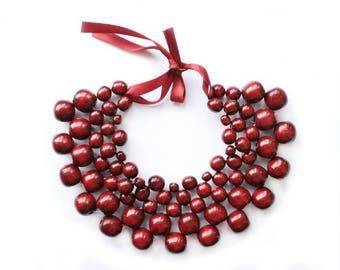 Burgundy Beaded Necklace dark red necklace wooden bead jewelry maroon necklace fashion marsala necklace bohemian eco necklace birthday gift