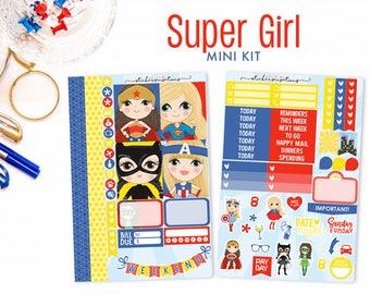 "Super Girl Power Hero Planner Stickers ""SUPER GIRL"" Mini Kit (Erin Condren stickers, Mambi, Happy Planner stickers)"