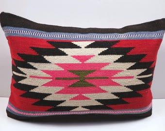 """Hnadwoven Turkish Kilim Pillow,Throw Pillow 20""""x14"""" Pillow,Tribal Lumbar,Rug Pillow,Sofa Pillow,Boho Pillow,Rug Cushion,Kissen,Aztec Pillows"""