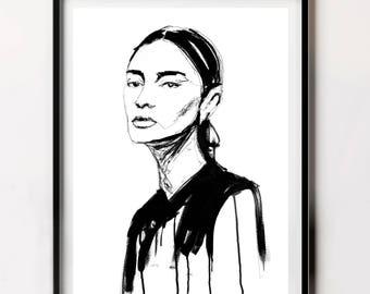 Female Portrait Poster, Most Popular Fine Art Print, Modern Fine Art Print, Female Portrait, Printable Art Poster, Art,