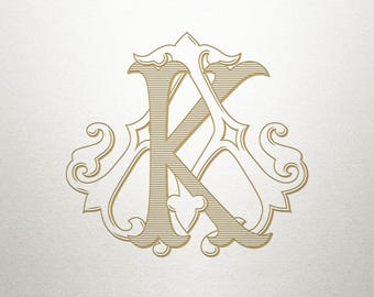 Vintage Digital Monogram - AK KA - Digital Monogram - Handcrafted
