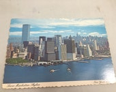 Vintage Lower Manhattan Sky Line New York City Twin Towers World Trade Center Postcard