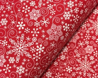 Sale Red Mulberry Lane Snowflakes by Cherry Guidry for Contempo Studios, Christmas Fabric, Snowflake, Winter, Red Winter Fabric