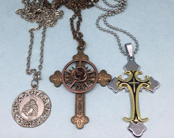 Vintage Necklaces Religious Charms Rosary Beads Icons Silver Tone Jewelry Blessed Mary