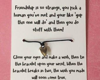 Friend wish bracelet, friend birthday gift, friend christmas gift. friend gift.