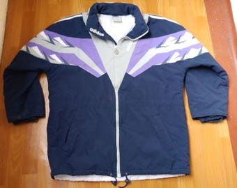 ADIDAS track jacket, vintage full zip hip hop jacket of 90s hip-hop clothing, 1990s gangsta rap, old school windbreaker, size L Large D7