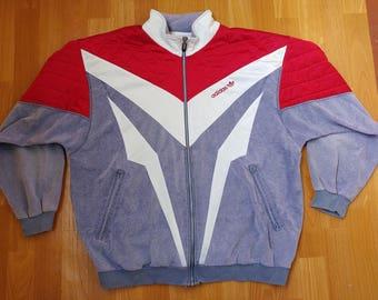 ADIDAS track jacket, vintage hip hop jacket of 80s 90s hip-hop clothing, 1990s rap, old school windbreaker, size L Large D8 Made in France