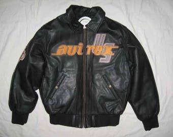 AVIREX leather jacket, vintage black coat, 90s hip-hop clothing, gangsta rap, old school 1990s college jacket, streetwear men's size S Small