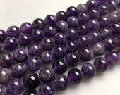 """2.0mm Large Hole Amethyst Smooth Gemstone Loose Beads Size 8mm/10mm Approx 15.5"""" per Strand. R-S-L-AME-0084"""