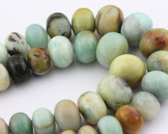 Multi-Color Amazonite Graduated Smooth Rondelle Loose Beads 15.5'' Long Size 6x10-15x20mm.A-GEM-AMA-0156