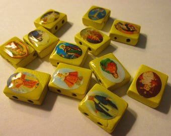 Yellow Wooden Tiles with Religious Motifs, 15mm, Set of 12 Assorted