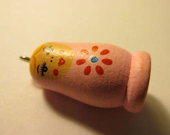 Hand Painted Light Pink Wooden Matryoshka Russian Doll Bead-Charm, 1 1/4""