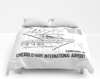 Chicago O'Hare International Airport (ORD) Map - Comforter