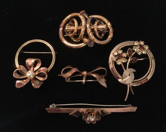 Lot of Antique/Vintage Gold-Filled Brooches or Pins