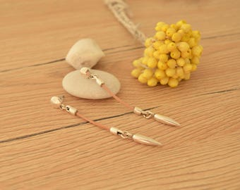 Beige leather bar spike charm earrings, Silver Push back Earrings, Genuine Leather Earrings, Free People earrings, dangle bohemian earrings