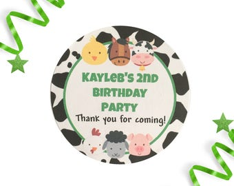 12 Farm Party Labels Stickers | Personalised | Round Matte | Perfect for Barnyard Party bags