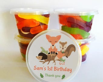 5 Woodland Party Favours | Personalised tubs | Alternative to lolly bags for your Birthday Party theme