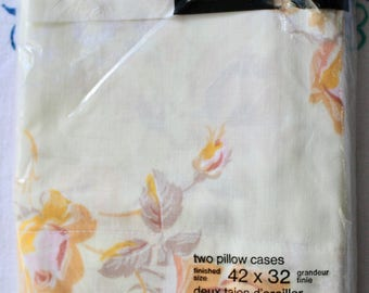 Vintage Pair of Texmade No Iron Pillow Cases - Yellow Roses Cottage / Shabby Chic NIP