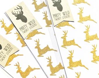 Reindeer Stickers Pk20 - Glitter Gold