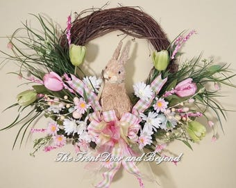 Easter Bunny Wreath, Sisal Bunny Wreath, Spring Wreath, Front Door Wreath with Bunny, Easter Wreath with Sisal Bunny, Tulip and Bunny Wreath