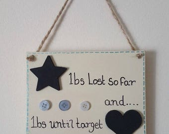 Diet, motivation, tracker, weight loss, targets, hanging plaque, keeping record, chalk board, different colors, goals, slimming counter