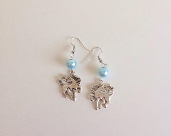 Blue beads and silver unicorn earrings