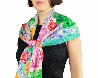 Woolen Scarf, Diamond Scarf, Brilliant, Printed Wool Scarf, Pink Rainbow Scarf, Gift For Her, Art Scarf, Shawl, Abstract Scarf, Geometry