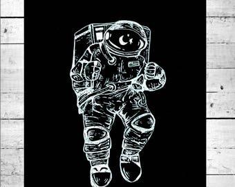 Astronaut Black & White Art Print
