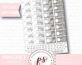 Marble Texture Date Cover Digital Printable Planner Stickers | For Classic Happy Planner | JPG/PDF/Silhouette Compatible Cut File
