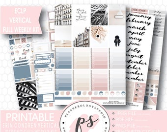 Serene Stock Photography Photographic Full Weekly Kit Digital Printable Planner Stickers | JPG/PDF/Silhouette Cut Files | For ECLP Vertical