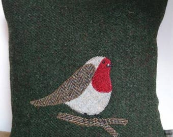 SALE Hand Crafted Harris Tweed Robin Bird Cushion Cover