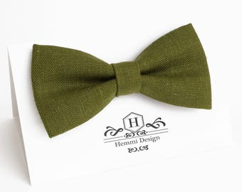 Olive Green Linen Bow Tie For Wedding - Ceremony / Groomsmen bow tie / Men's bow tie / Boy's / Toddler's Dark Green Bow Tie, Pocket square