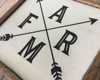 Farm Arrow Wood Sign - Farmhouse - Rustic - Home Decor - Wedding Gift