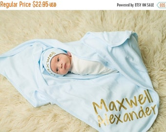 ON SALE Personalized Baby Blanket - Blue Baby Blanket - Boys Baby Blanket - Baby Wrap Blanket - Custom Baby Blanket - Baby Shower Gift-Newbo