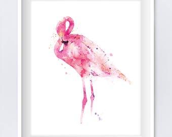 Flamingo Print, Watercolor, Pink Flamingo, Painting, Bird, Art, Pretty, Nursery Wall Art, Flamingo Decor, Animal Art, Gift, Digital Download