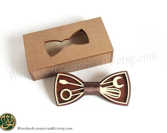 Wood bow tie Mechanic screwdriver wrench tools wooden bowtie
