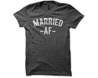 Married AF Shirt - Funny Newlywed His Hers Couples Premium Hubby Wifey Distressed Wedding T-Shirt
