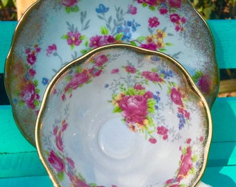 Pretty in Pink-Royal Albert Rose and Gold Teacup and Saucer