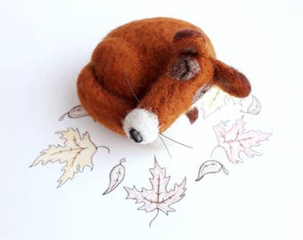 Fox. Needle Felted Fox. Felt Fox. Sleeping Fox. Needle Felted Animals. Woodland Animal.Wool Animal.Sleepy Fox. Wool Felting. Needle Felting.