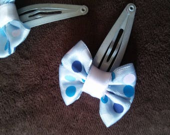 Blue & White Polka Dot Hair Clips