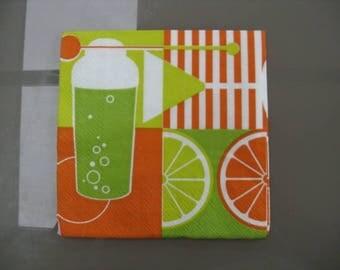 set of 2 napkins papierlot 2 paper cocktail napkins