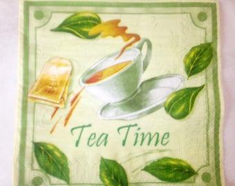 set of 2 napkins tea time