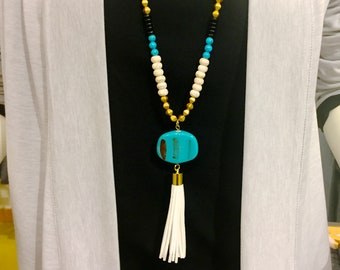 Long necklace | Tassel necklace | Turquoise necklace | Long turquoise necklace | Long bead necklace | FREE SHIPPING in US