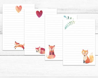 Fox Woodland Writing Set Bundle 8 papers- Digital Stationery,  Printable Paper, Instant Download, Penpals, Snailmail