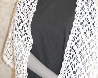 100% cotton hand crocheted white shawl