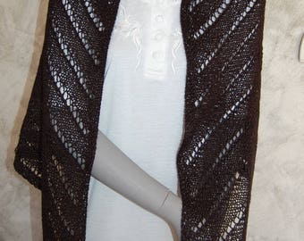 Shawl black knitted handmade with pattern v